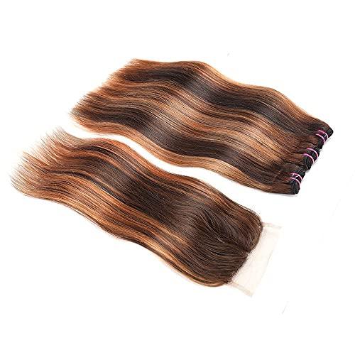 TOOCCI Tissage Bresilien en lot avec Closure - Closure Tissage Bresilienne Naturel Brésilien Hair Bonnet Perruque Mèche Naturelle Tissage Closure p4/30 (888+8)