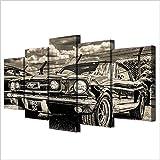 runtooer Tableau Toile Murale Déco,Tableau Imprimé XXL, Tableau Deco, Canvas 1965 Ford Mustang Encadrée