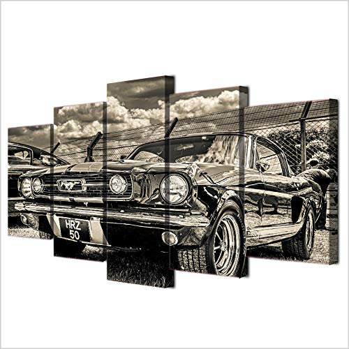 Bilder Dekorative malerei Spray malerei leinwand malerei 5 stück 1965 Ford Mustang Leinwand Wandbild, Möbel Art Deco, Rahmen