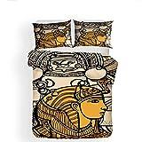Svvsovs 3D lecho de Imprimir Duvet Cover Set 135 x 200 cm bedcloth con la Funda de Almohada Juego de Cama Textiles for el hogar Individual Doble Rey Queen Size Faraón Egipcio Vintage - Traje de edre
