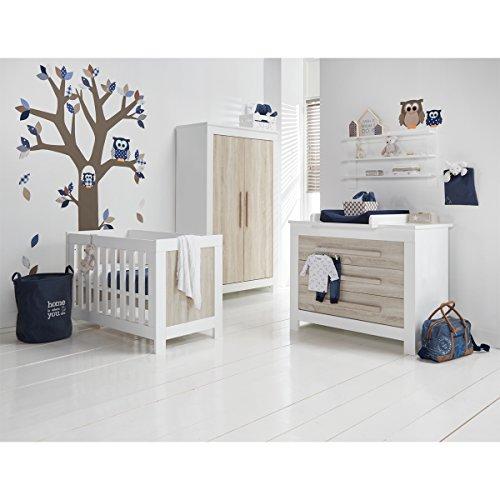 Chambre complète lit bébé 60x120 - commode à langer - armoire 2 portes Parma - Bois