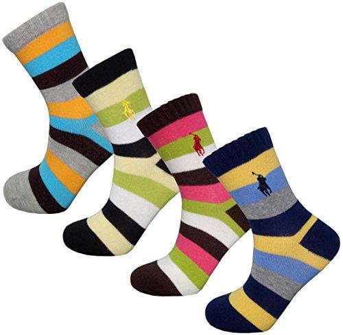 Searchself Boys Color Stripe Seamless Cotton Dress Socks (9-12 Years, Green Yellow Blue Pink)