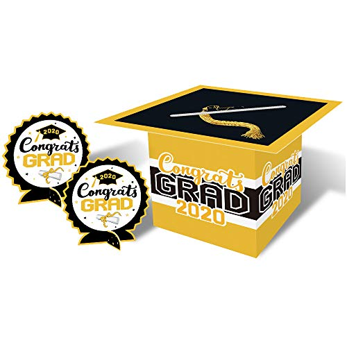2020 Congrats Grad Card Box Holder For Graduation Party Centerpiece & Table Decoration Kit Large Size