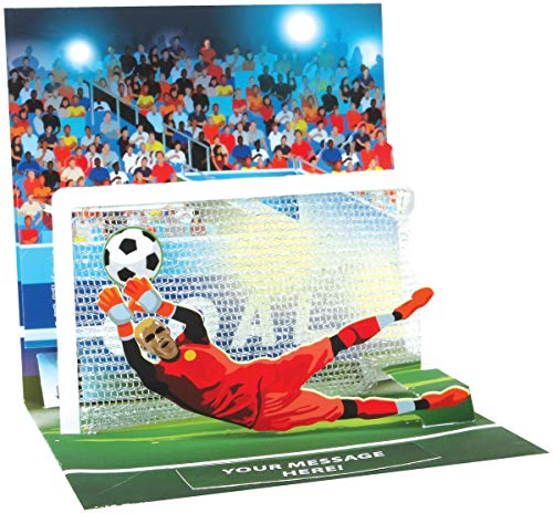 Pop Up 3D Karte Geburtstag Grußkarte Fußball Tor 13x13cm