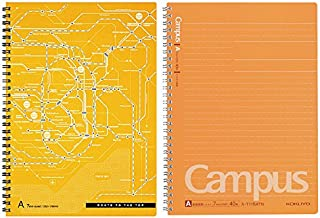 Kokuyo Campus Twin Ring Notebook, Semi B5-dotted 40 Sheets - 80 Pages, Pack of 2, Tokyo Route Map (sunset orange 7mm)