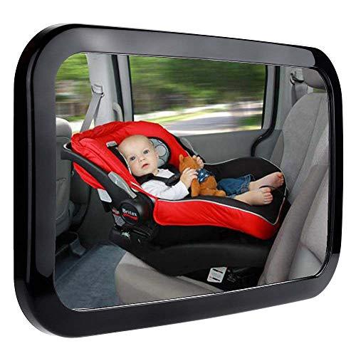 Andalus Brands Espejo retrovisor del asiento trasero con capacidad de maniobra de 360 grados para bebé Paquete de 1 Negro