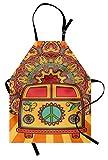 ABAKUHAUS Fiesta 70s Delantal de Cocina, Hippie Vintage Mini Van Fondo Ornamental con Símbolo de la Paz Arte, Fácil Lavado Resistente a la Grasa Colores Durables, Turquesa