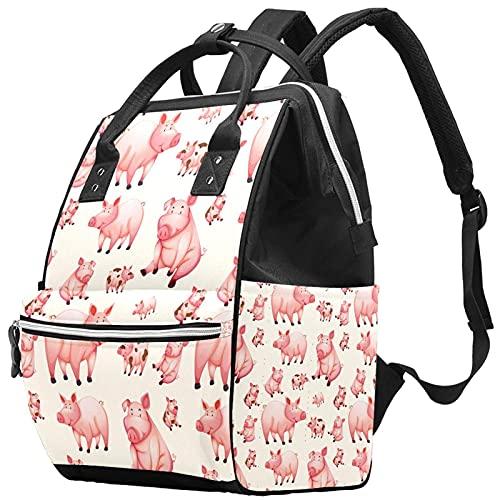 Bolsa de pañales de gran capacidad, multifunción, mochila de momia impermeable para mamá y papá colorido dibujado a mano patrón de dinosaurio