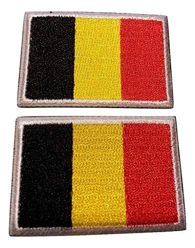 b2see Iron on Bügel Aufnäher Fahne Patches Flicken Aufbügler Bügelbild Applikation Sticker-Ei Flagge Belgien Brüssel Set 2 STK jeweils 4,8 x 3 cm