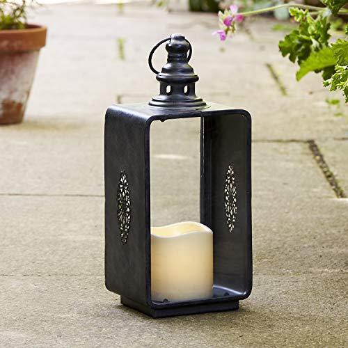 Lights4fun Graue Metall Laterne mit LED Kerze Batteriebetrieb Timer 30cm Außen