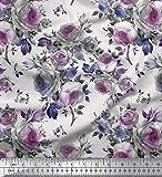 Soimoi Lila Satin Seide Stoff Blätter & Rose Blume Dekor