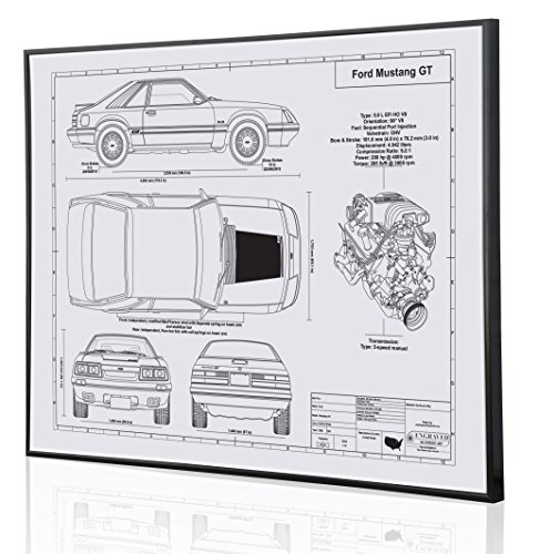 Amazon.com: Ford Mustang GT Foxbody Blueprint Artwork-Laser Marked &  Personalized-The Perfect Ford Gifts: Handmade