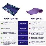 KUYOU Yogamatte- Faltbare 2 MM dünne Gymnastikmatte rutschfest Design Hilfslinien licht umweltfreundlich langlebig hochwertiges Wildleder für Reisen Yoga und Pilates mit Tragetasche Tragegurt - 6