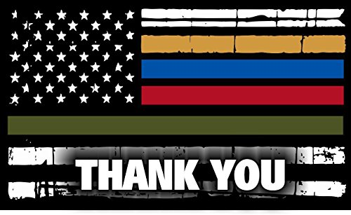 Thin Blue Line Red Line Military Dispatcher Tattered Flag Decal Vinyl Sticker 5'