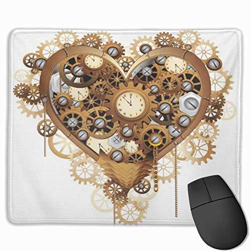 Nettes Gaming-Mauspad, Schreibtisch-Mauspad, kleines Mauspad für Laptop-Computer, Mausmatten-Zahnräder Steampunk-Herz-Liebes-Uhr-Valentinstag-Uhrwerk-Bolzen-Ketten Kupfer.