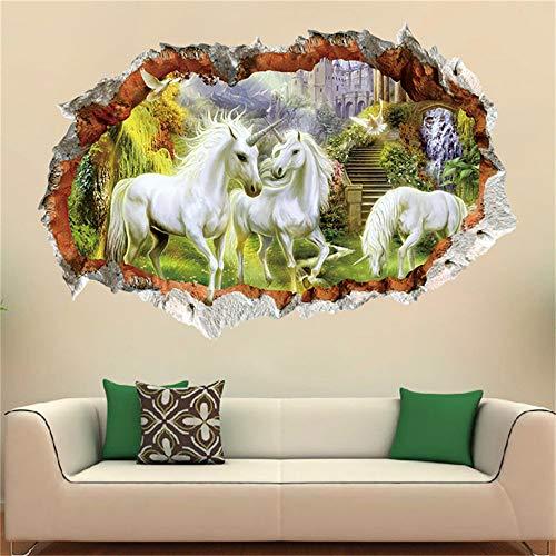 Yptie 3D Pvc Diy Wandaufkleber Tapete Wandbild Wallpaper Wohnzimmer Schlafzimmer Entfernbare Kunst Hintergrund Dekor Weißes Drachenpferd