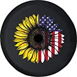 JL Spare Tire Cover Distressed USA Flag Sunflower Mash Up JL Tire Cover with Backup Camera Hole BUC (Fits: JL Accessories) Black Size 33 Inch