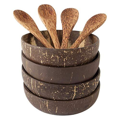ACAMPTAR Kokosnuss Schalen und L?ffel Set, Salat Smoothie Mixing Dessert Frucht EIS Snack Schüssel für die Küche, Essen Zimmer 4 Set