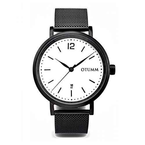 Otumm maglia uomo nero calendario quadrante bianco 43mm uomo mesh orologio