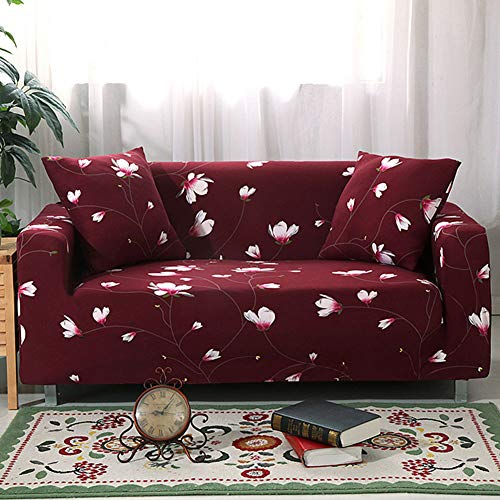 UMINEUX Printed Sofa Cover High Stretch Sofa Slipcovers Couch All Cover Furniture Protector with Two Pillow Covers (Sofa-4 Seater, Red)