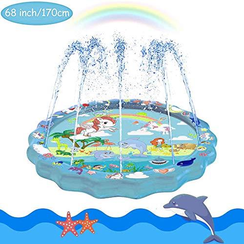 HUOHUOHUO Sprinkler Splash Play Matte,Splash Spielmatte Sprinkler Wasserspielmatte,Wasserspielzeug Garten für Kinder, Outdoor Familie Aktivitäten Party und Haustiere