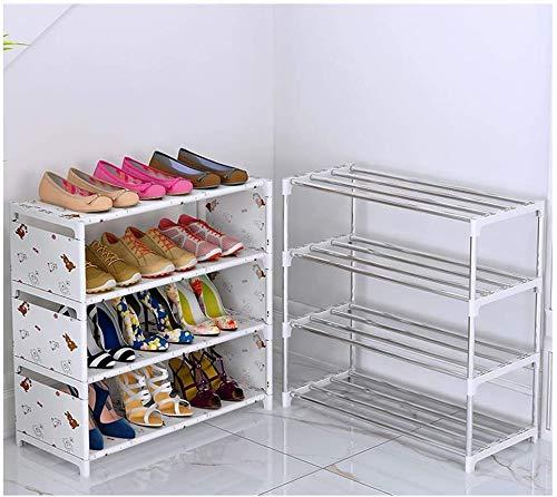 Zapatero Sala de Estar Zapatero Ahorro de Espacio Gabinete de Almacenamiento de Zapatos Tela no Tejida Puede acomodar 12-18 Pares de Zapatos Zapatero Desmontable (Color: Blanco Tamaño: 23.6