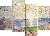 1art1 Edvard Munch - El Sol, 1910, 4 Partes Cuadro, Lienzo Montado sobre Bastidor (120 x 80cm)