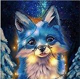 Maysurban 5D DIY Diamant Stickerei Diamant Malerei Diamond Painting Bilder Tiere Gemälde Erwachsene DIY Handwerk Pictures für Zuhause Wand Décor (30 x 40 cm, Glühender Blauer Fuchs)