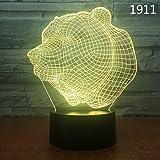 Decoración Del Hogar 3D Luz Nocturna Electrónica Usb Sensor Táctil Luz Nocturna Forma De Animal Dormitorio Lámpara De Noche