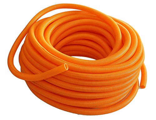 "Absolute USA SLT12OR 1/2"" x 100' Orange Split Loom Split Wire Loom Polyethylene Conduit Corrugated Plastic Tubing Sleeve for Various Automotive, Home, Marine, Industrial Wiring Applications, Etc."