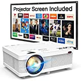 "QKK 2020 Newest Mini Video Projector, 100"" Projector Screen Included, 1080P Supported 176"""