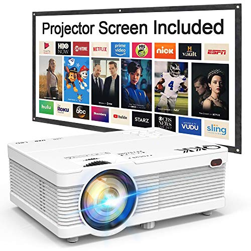 QKK Projector with 100 Inch Projector Screen, Mini Portable Projector 1080P Compatible with HDMI, VGA, AV, USB for Home Theater, Outdoor Activities and More