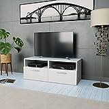 Tidyard Mesa para TV Mueble TV Salón Mesa Televisión Mueble Comedor Televisor Bajo con 2 Estantes y 2 Armarios Estilo de Moderno PVC 95x35x36cm Blanco Mate