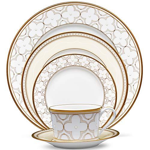 Noritake Trefolio Gold 5-Piece Place Dinnerware Setting in Blue/White