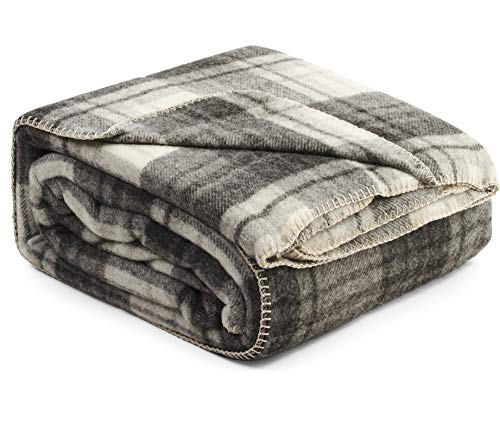 Fluer Ares Luxury Wool Bed Blanket 90 by 90 Inch Queen Size Genuine Natural 100% Wool Blankets for The Bed Classic Tartan Pattern Grey Ivory Dark Gray