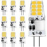 Sylvwin G4 LED Lampadina,3W Lampade LED Equivalente a 35W Lampadine Alogene,Bianco Caldo 3000K,350LM,12V AC/DC Angolo del Fascio 360°,Lampada LED G4 Senza Sfarfallio,Non Dimmerabile,10 Pezzi