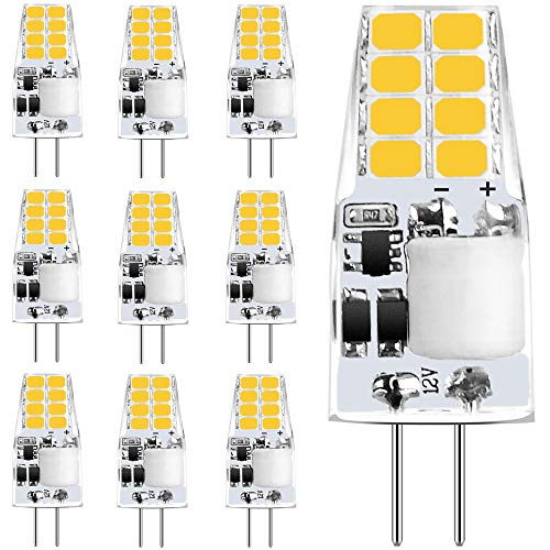 Sylvwin 3W G4 Bombillas,LED Lámparas Blanco Cálido 3000K,Equivalente 35W Halógenas,350LM,AC/DC 12V Ángulo de Haz de 360°,Lámpara LED G4 Sin Parpadeo,No Regulable,Paquete de 10