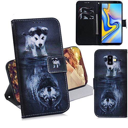 DodoBuy Samsung Galaxy J6+ Plus Hülle Flip PU Leder Schutzhülle Handy Tasche Case Cover Wallet Standfunktion mit Kartenfächer Magnetverschluss für Samsung Galaxy J6+ Plus - H& Wolf
