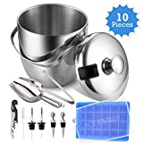 Insulated Ice Bucket With 10 Piece All in One Bundle - Stainless Steel Ice Buckets Insulated With Lids - Double Layer Ice Buckets for Parties - Ice Bucket With Tongs & Cube Tray - Ice Buckets for Bar