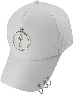Unisex Plain Baseball Cap Adjustable Curved Visor Hat Piercing Ring Baseball Cap,White