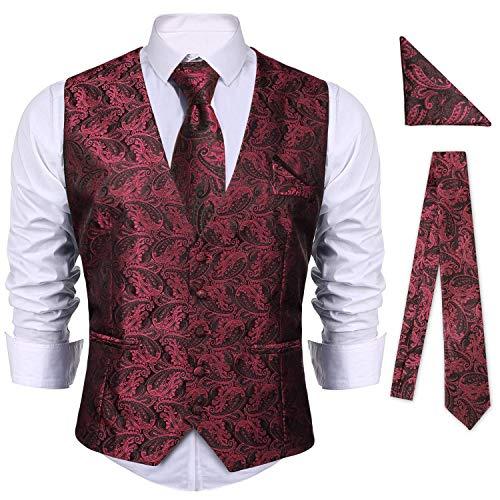 iClosam Herren Weste Anzug & Krawatte & Taschentücher 15 Stück Slim Fit Paisley Westen Set Herrenweste Anzug Business Hochzeit.