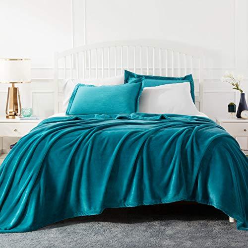 BEDSURE Plaid Couverture Polaire Turquoise Couvre-lit 270x230cm pour 2 Personnes - Plaid Douce et Chaude Jeté de Canapé Flanelle Grande Taille