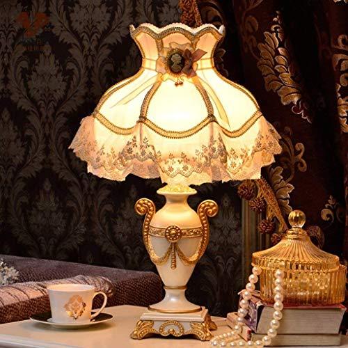 Escritorio JUNLI Lámpara Personalidad simple de estilo europeo jardín de la resina Lámparas de mesa, lámpara de cabecera del dormitorio, la lámpara creativa, E27 o E14 luz de la noche de lectura Liger