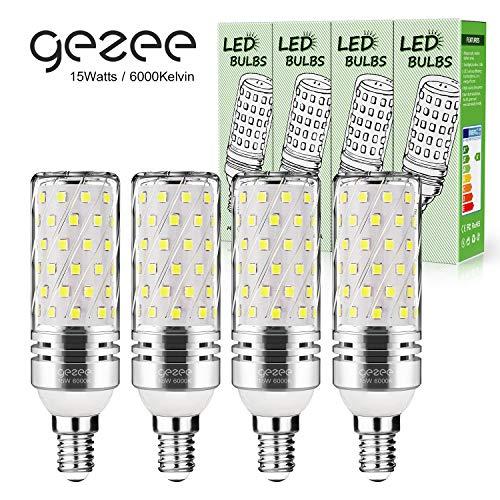 Gezee LED Argento Mais lampadine E14 15W Small Edison Screw Equivalente a 120W 1500Lm Non Dimmerabile 6000K Bianco Freddo Lampadine a candela(4 pezzi)