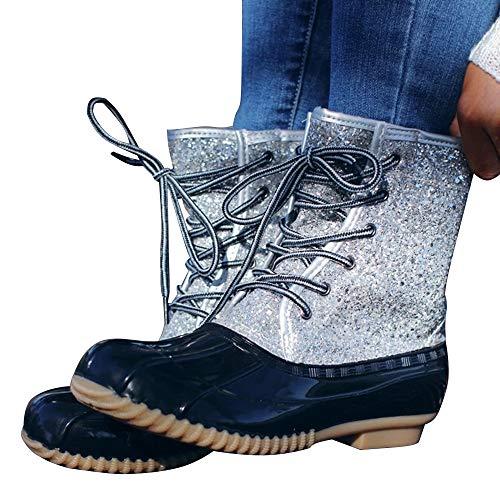 Shujin Damen Regenstiefel Kurzschaft Stiefeletten Bequeme Schnür Martin Stiefeletten Bootsschuhe Schlupfstiefel Wasserdicht Flache Schuhe Gummistiefel Rain Boot