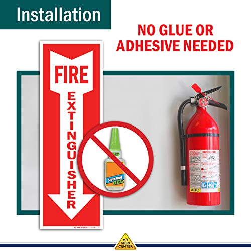 (3 Pack) Fire Extinguisher Signs, Self Adhesive Vinyl Decals, Arrow Pointing Down, Indoor and Outdoor Use, 4