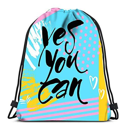 N / A Kordelzug Rucksack Ja, Sie können Flyer Motivati Wäschesack Gym Yoga-Tasche 36 x 43 cm / 14,2 x 16,9 Zoll