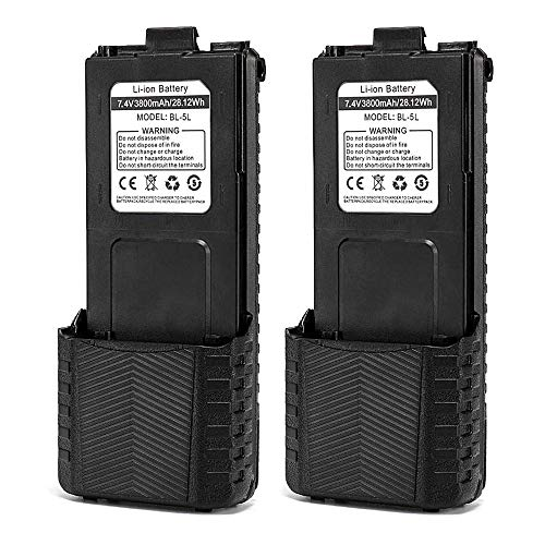 BAOFENG BL-5L 3800mAh Extended Battery Compatible with UV-5R UV-5RTP UV-5R Plus RD-5R, 2 Pack, Black