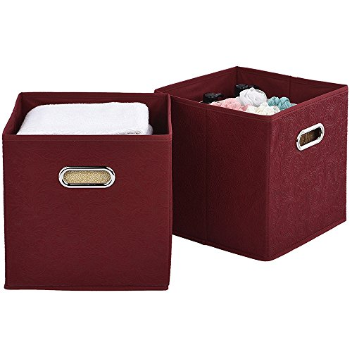 2 Pack Foldable Clothes Fabric Storage Cubes, Claret Red Embossed Fabric Drawers Storage Bins Organizer With Dual Metal Handles