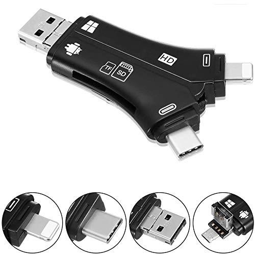 Baoniansoo Adaptador de Lector de Tarjeta de Memoria 4 en 1, Lector de Tarjeta con Interfaz Lightning, Tipo-C, USB 2.0, Interfaz USB para Laptop iPhone/iPad/Android/PC